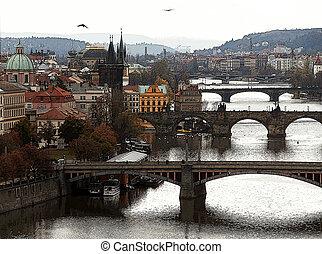 Prague and Vltava river, colorized