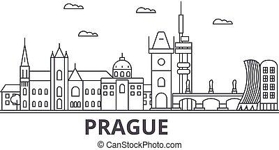 Prague architecture line skyline illustration. Linear vector...