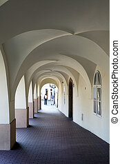 Prague - archway of Gothic building