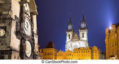 Prague Astronomical Clock and Church of Our Lady before Tyn, night, Czech Republic