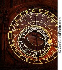 Prague Astronomical Clock at night, Czech Republic