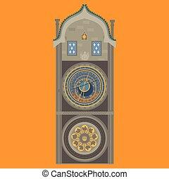 Prague astronomical clock. Czech Republic. Old Town Square in European city. Famous, tourists travel, popular routs