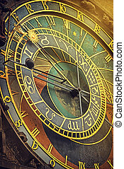 Prague Astronomical Clock Detail Retro Toned