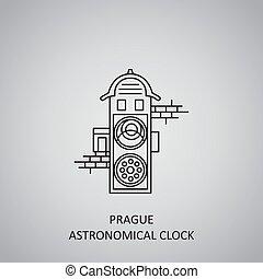 Prague Astronomical Clock icon on grey background. Czech Republic, Prague. Line icon