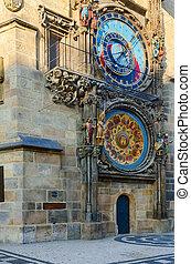 Prague Astronomical Clock, or Orloj on Old Town Hall, Prague, Czech Republic