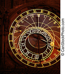 Prague Astronomical Clock at night, Czech Republic