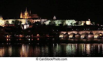 Prague at night with Charles Bridge Karluv Most over Vltava river and Prague Castle, Czech Republic