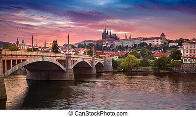 Prague at sunset.