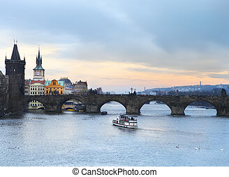 Prague at Twilight, view of Charles bridge