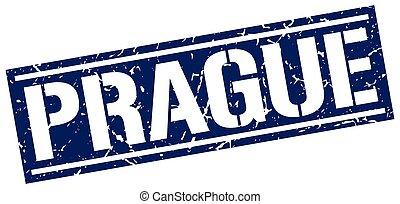 Prague blue square stamp