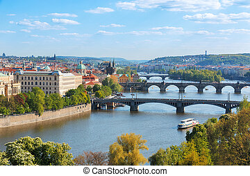 Prague bridges, aerial cityscape, Czech Republic