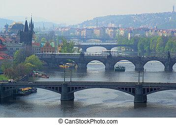 Prague bridges aerial view 04
