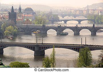 Prague bridges aerial view 09