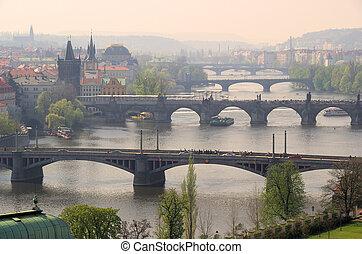 Prague bridges aerial view 10