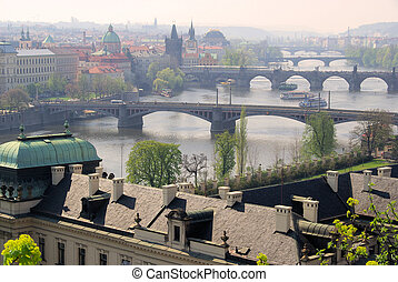 Prague bridges aerial view 12