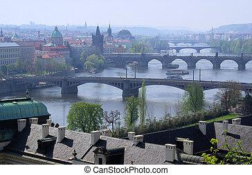 Prague bridges aerial view 13