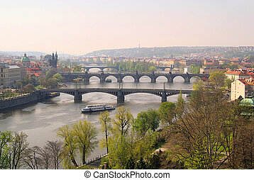 Prague bridges aerial view 14