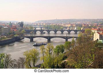 Prague bridges aerial view 14