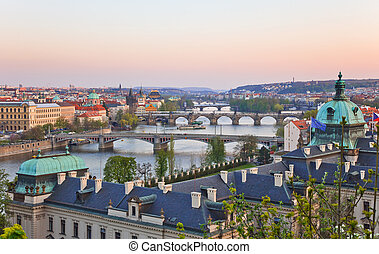Prague Bridges after sunset