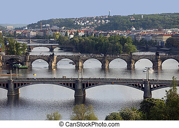 Prague - bridges and Vltava River