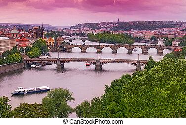 Prague Bridges on Vltava River