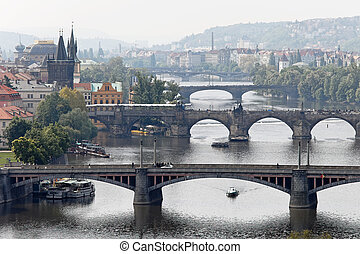 Prague bridges over the Vltava