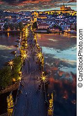 Prague Castle after sunset. Europe, Czech republic.