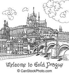 Prague Castle and Charles Bridge - Vector sketch of Prague...