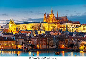 Prague Castle and Mala Strana or Little Quarter at night, Prague, Czech Republic.