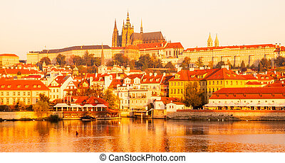 Prague Castle at sunrise time, Prague, Czech Republic.