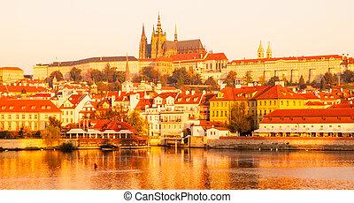 Prague Castle at sunrise time, Prague, Czech Republic.