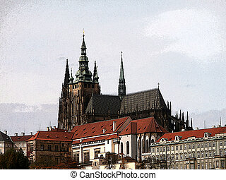 Prague castle, colorized (Czech Republic)