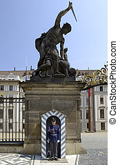 Prague Castle - Czech Republic - Guard at the entrance to...