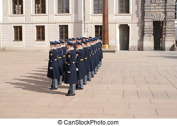 Prague Castle Guards - Soldiers in formation during display...