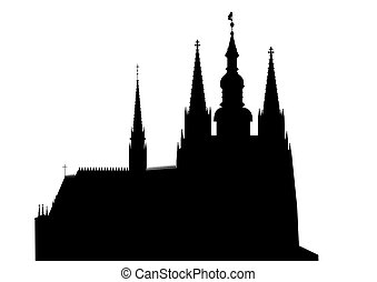 Prague castle - vector - Hradcany - Cathedral of Saint Vitus...