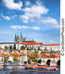 Prague Castle with famous Charles Bridge in Czech Republic -...