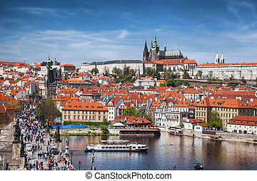 Prague Castle with famous Charles Bridge in Czech Republic