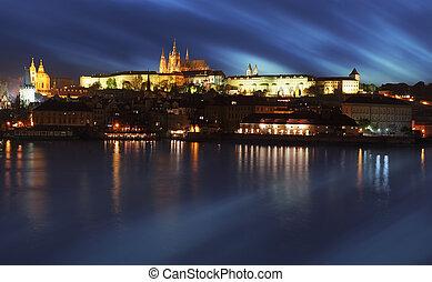 Prague Castle from river at sunrise - Czech republic
