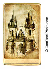 Prague Cathedral - European Landmarks.Vintage Cards