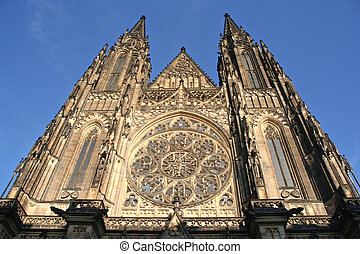 Prague Cathedral - Facade of St.Vitus Cathedral on Prague...