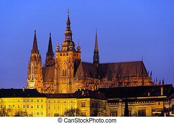 Prague cathedral night 01