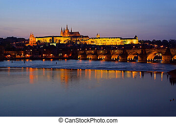 Prague cathedral night