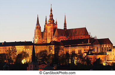 Prague Cathedral - Prague's St. Vitus Cathedral illuminated...