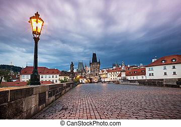 Prague Charles bridge after sunset. Czech republic.