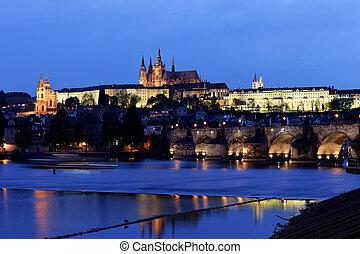 prague, charles bridge, prague castle prague castle and vltava river