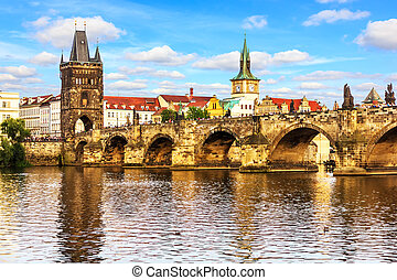 Prague Charles Bridge and the Old Town Tower