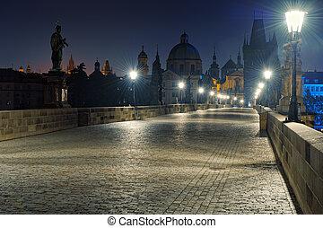 Prague Charles bridge at dawn
