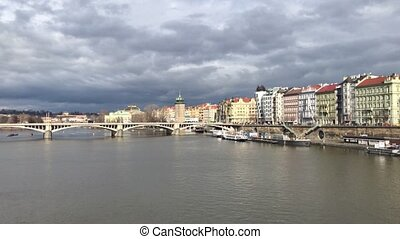 Prague charles bridge. Europe Czech Republic Traditional panoramic cityscape in old town
