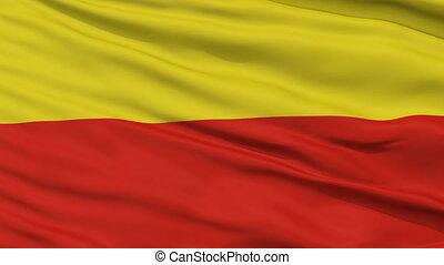 Prague City Close Up Waving Flag