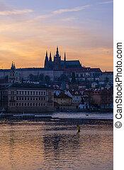 Beautiful sunset on the Vltava river. Prague city, Czech Republic